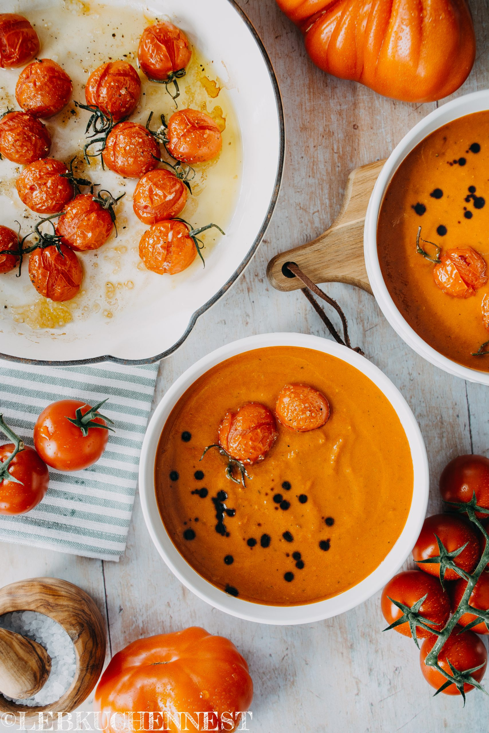 Tomatencremesuppe mit Schmortomaten - All you need is homemade – Lebkuchennest