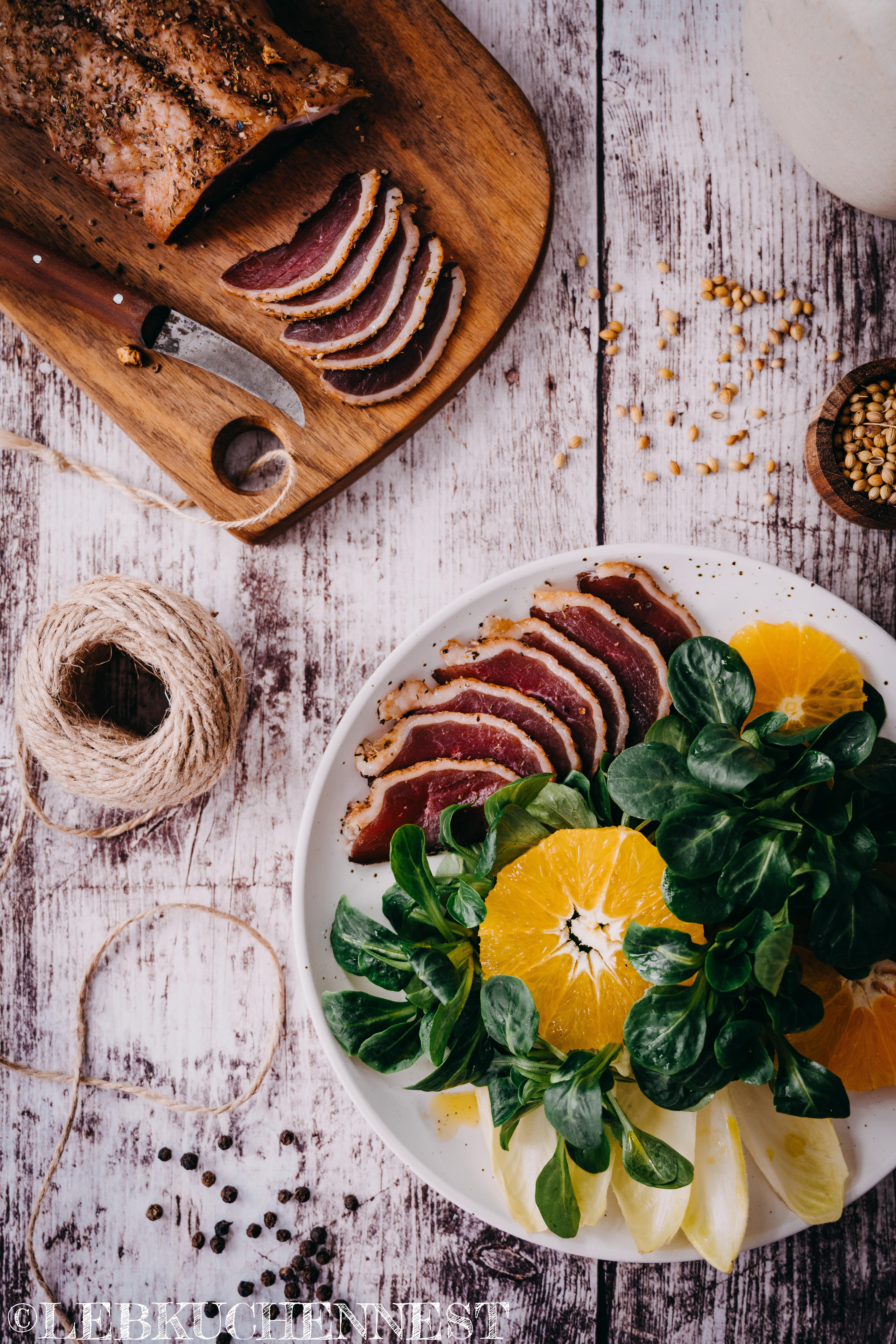Feldsalat mit gebeizter Entenbrust & Orange
