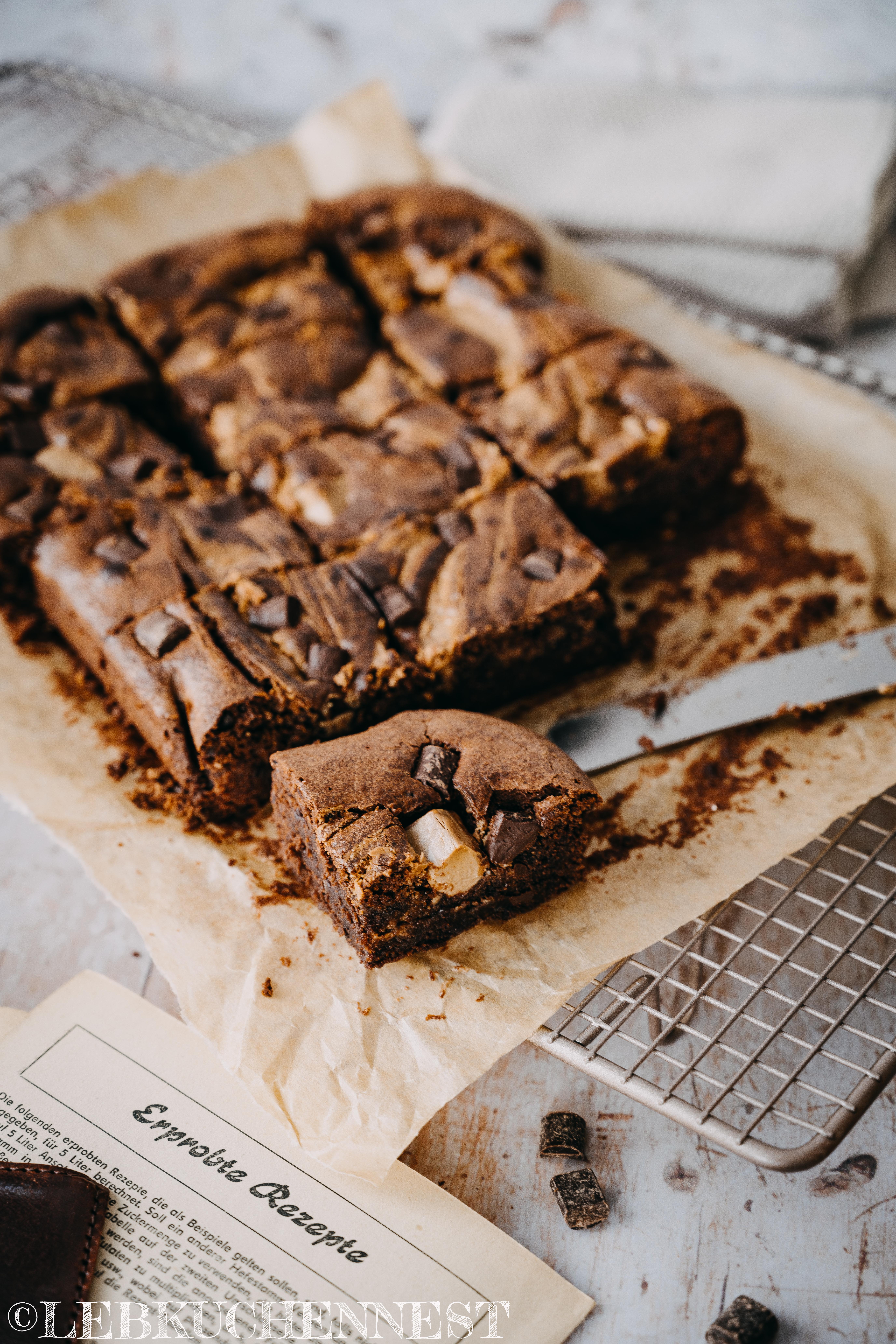 Anschnitt - Nuss-Nougat-Brownies