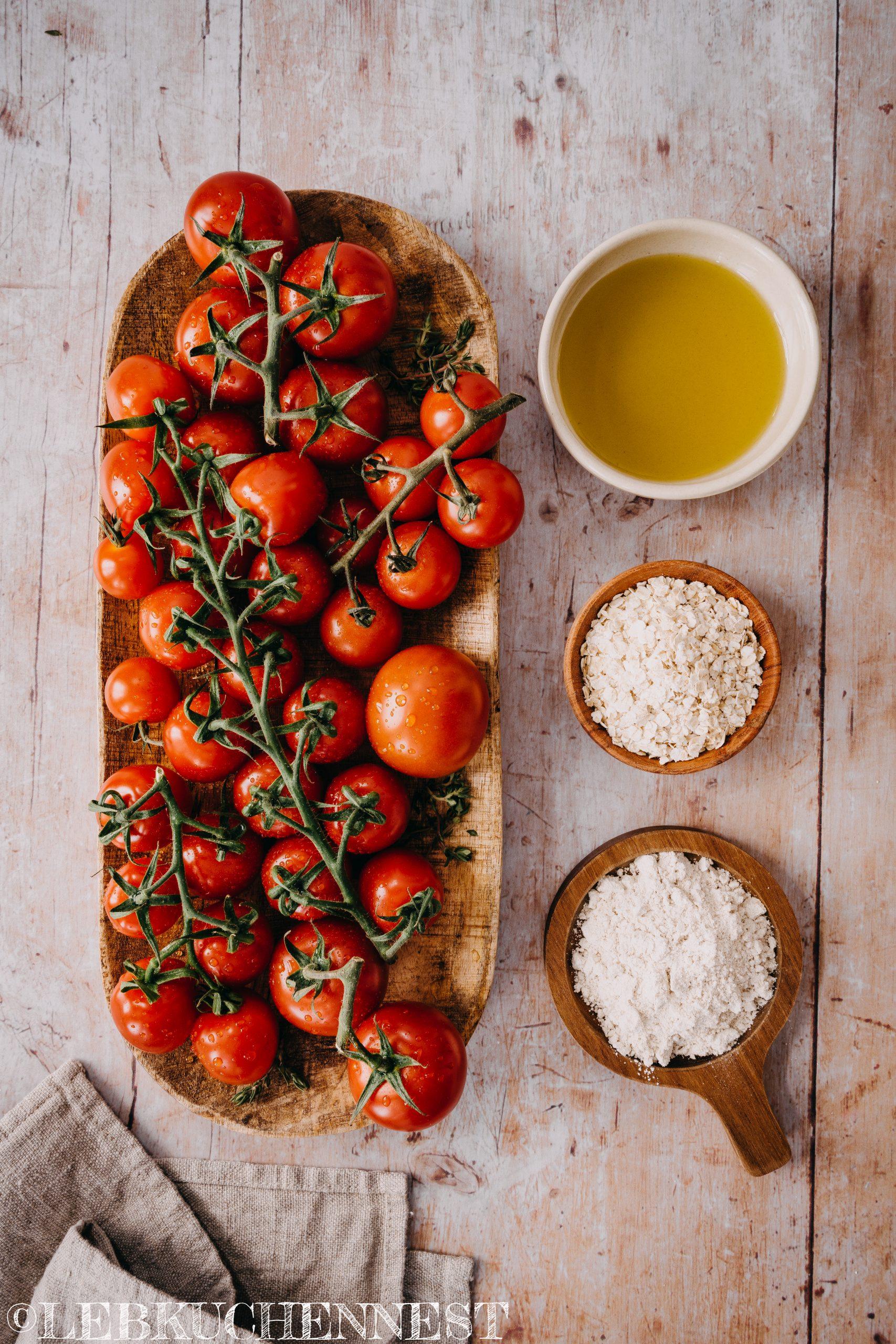 Zutaten - Focaccia mit Tomaten und Hafer