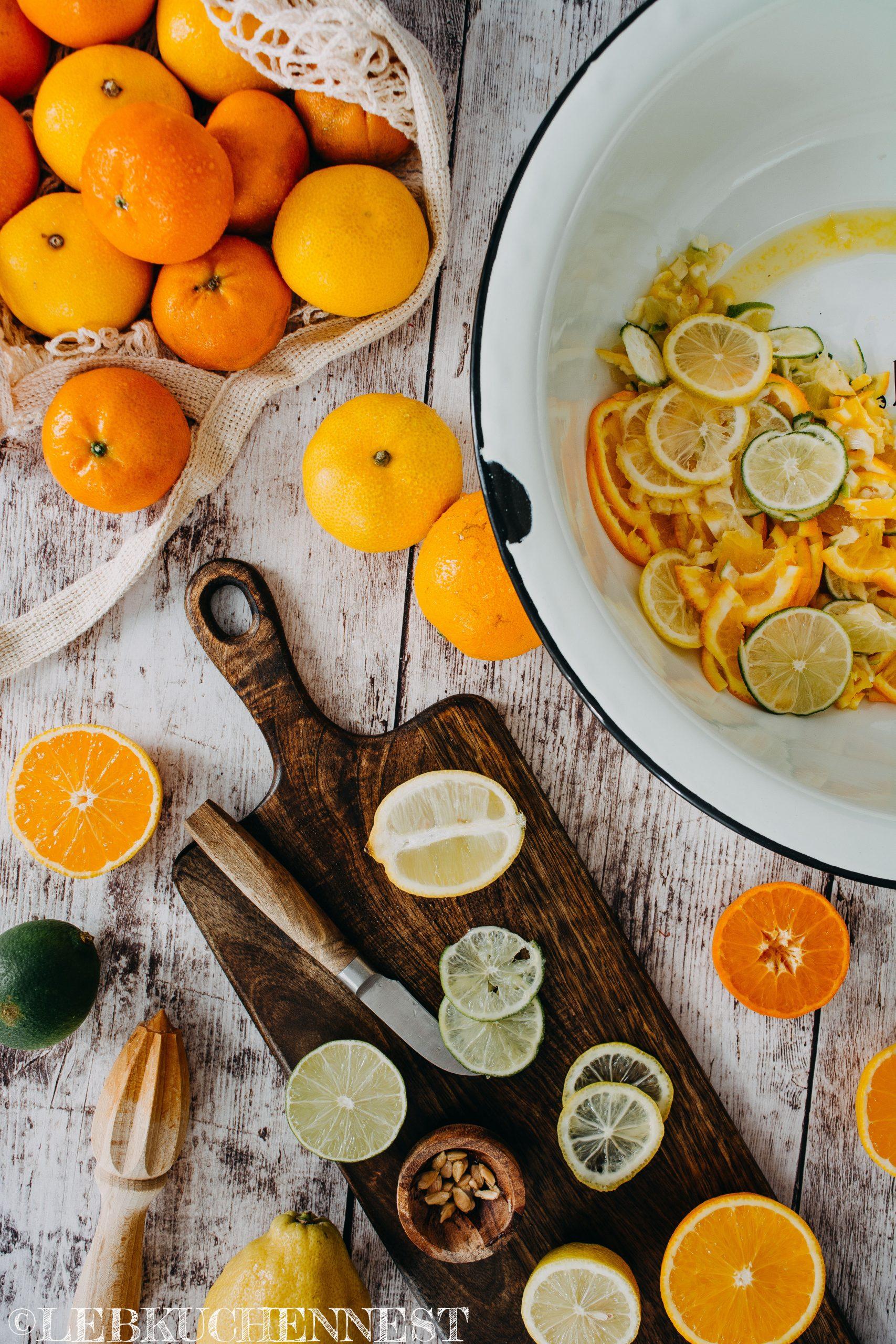 Zubereitung - Zitrusfrüchte fein schneiden