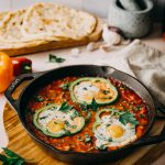 Paprika-Shakshuka frisch aus dem Ofen